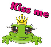 Frog and word kiss me Royalty Free Stock Photo