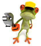 Frog worker. Cute little frog, 3D generated picture Stock Images
