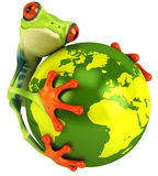 Frog with the world. Cute little frog, 3D generated stock illustration