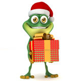 Frog with Xmas gift Royalty Free Stock Images
