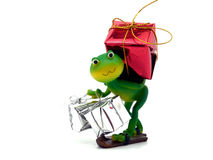 Froggy carrying gifts. Wrapped up in shinny paper Royalty Free Stock Image