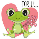 Froggy with flowers Stock Image