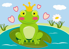 Froggy prince. Illustration of a cute smiling frog prince with a crown on head Stock Photo