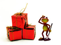 Froggy and the red gifts Stock Images