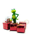 Froggy and the X-mas gifts Royalty Free Stock Photos