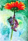 Frogling and flower. Painting wet watercolor on paper. Naive art. Drawing watercolor on paper. stock illustration