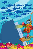 Frogman. The illustration shows a cartoon diver on the seabed. It illuminates an old sunken ship on a background seascape and shoals of fish Stock Photo