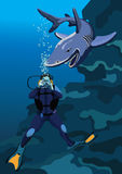 Frogman and shark. The depiction of a careless frogman and a shark Royalty Free Stock Photo