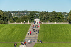 Frogner park in Oslo. OSLO, NORWAY - AUGUST 7: Sundial in Vigeland park in Oslo, Norway on August 7, 2012. The park covers 80 acres and features 212 bronze and Stock Photography
