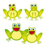 Frogs. Green frogs cartoons isolated over white background. vector Stock Images