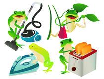 Frogs. 4 frogs do housework,vector illustration Royalty Free Stock Image