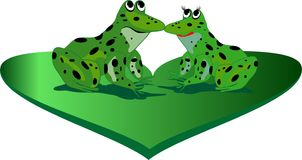 Frogs. A couple of frog on green heart Stock Photo