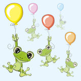 Frogs with balloon. Cute cartoon Frogs with balloons on a blue background stock illustration