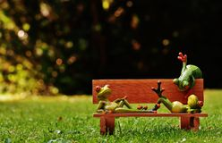 Frogs, Bank, Bench, Relaxed, Figure Royalty Free Stock Image