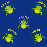 Frogs on blue background. Royalty Free Stock Photography