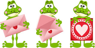 Frogs with envelope and heart postcard. Scalable vectorial image representing a frogs with envelope and heart postcard, isolated on white royalty free illustration