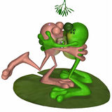 Frogs Kissing Under Mistletoe Royalty Free Stock Image