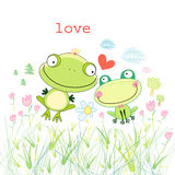 Frogs in love. Loving frogs on bright white background with grass and trees Royalty Free Stock Image