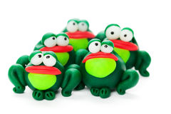 Frogs. Made of polymer clay isolated on white background Royalty Free Stock Image