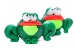Frogs. Made of polymer clay isolated on white background Royalty Free Stock Photo