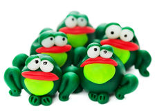 Frogs. Made of polymer clay isolated on white background Royalty Free Stock Photos