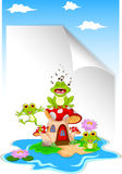 3 frogs on a mushroom with blank sign. Illustration of 3 frogs on a mushroom with blank sign Royalty Free Stock Images