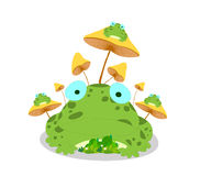 Frogs and mushroom on white background Royalty Free Stock Photos