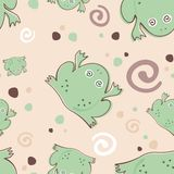 Frogs  pattern. Cartoon frogs in water seamless pattern eps 10 Stock Photography