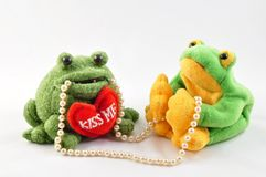 Frogs and pearl Stock Images