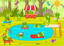 Frogs Pool Party. Cute frogs are having fun at the pool. Eps10 Stock Photos