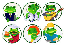 Frogs.Professions. 6 frogs of different professions, vector illustration Stock Photography