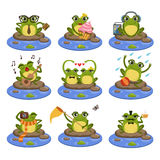 Frogs Sitting On The Stone Character Set Stock Image