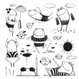 Frogs Summer Swimming Drawing Collection Royalty Free Stock Photo
