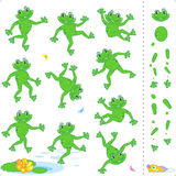 Frogs or toads cartoon characters. Construction kit - easy to pose as needed Stock Images