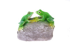 Frogs. Two artificial frogs sitting on a gray stone Royalty Free Stock Images