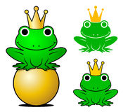 Frogs wearing crowns while one sitting on gold ball Stock Images