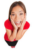 Frohe aufgeregte überraschte junge Frau lokalisiert Stockfotos
