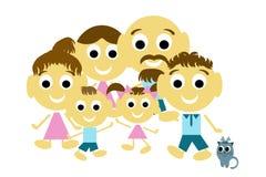 Frohe Familie, Familie mit drei Generationen und Katze Lizenzfreie Stockfotos