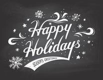 Frohe Feiertage auf Tafelhintergrund Lizenzfreies Stockfoto