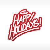 Frohe Feiertage Aufkleberbeschriftung Lizenzfreie Stockfotografie