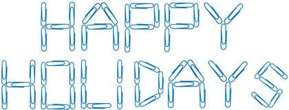 Frohe Feiertage blaue Papierklammern Lizenzfreie Stockbilder