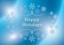 Frohe Feiertage - blaue Vektorgrußkarte mit Schneeflocken stock abbildung