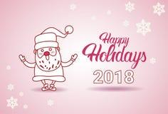 Frohe Feiertage Fahnen-Santa On Christmas And New-Jahr-Gruß-Karte 2018 Lizenzfreie Stockfotos