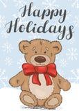 Frohe Feiertage Festliche Karte mit einem Teddybären lizenzfreie abbildung