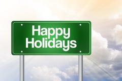 Frohe Feiertage grünes Verkehrsschild Lizenzfreie Stockfotos