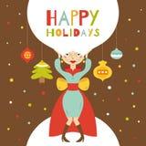 Frohe Feiertage. Grußkarte mit schönem Mädchen Stockfotografie