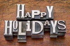 Frohe Feiertage im Metalltypen Lizenzfreies Stockfoto