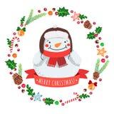 Frohe Feiertage Karikaturschneemann in einem Hut mit Weihnachtskranz-Vektorkarte stock abbildung