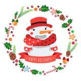 Frohe Feiertage Karikaturschneemann in einem roten Hut mit Weihnachtskranz-Vektorkarte Stockfotografie