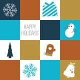 'Frohe Feiertage' Karte/Feiertags-Ikonen Stockfotos